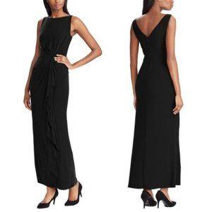 Chaps Black Twist-Front Sleeveless Evening Dress